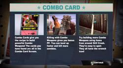 Dead rising 2 Case 0 combo card explanation screen