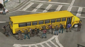 Dead rising surrounded bus close up