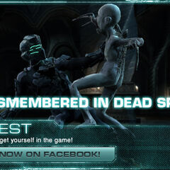 An advertisement for a contest on the Dead Space 2 website featuring a Necromorph of The Pack attacking Isaac.