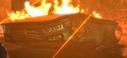 Blown up patrol car