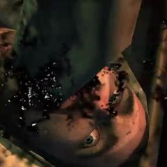 Треножник вбивает свою косу в рот Айзека.