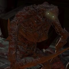 Охотник смотрит на игрока послу убийства Айзека.