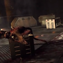 A dead Flyer lying on a crate, near some Slashers playing dead