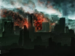 Burning city speedpaint by scythir-d4ox9pu