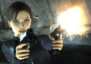 Lara shooting with her pistols