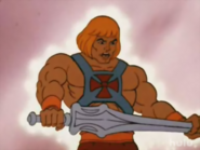 Masters of The Universe - He-Man holding The Power Sword as seen in the 1980s cartoon