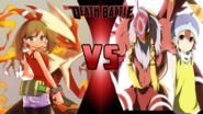 May and Blaziken vs. Sora Takenouchi and Biyomon