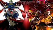 Domon Kasshu and God Gundam vs. Marcus Damon and Agumon