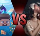 Lucy (Elfen Lied) vs Steve (Minecraft)