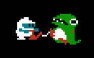 Dig Dug - Taizo Hori inflating an enemy in sprite form