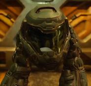 Doom - Doomguy about to wear his helmet as seen in the 2016 version of Doom