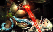 Killer Instinct - Fulgore fires off his Lazer Eyes at Glacius as he cuts his chest