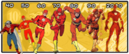 DC Comics - The Flash from the 1940s era to 2000s era.