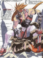 Guilty Gear - Sol Badguy sitting on a monster's head