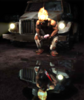 Twisted Metal - Sweet Tooth sitting on the front side of his vehicle with an ice cream cone on hand as seen as a knife via water reflection