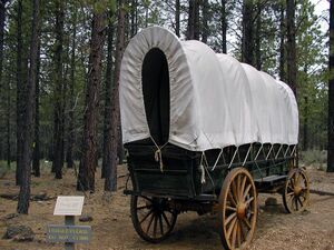 Covered wagon at the High Desert Museum Outside
