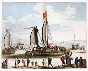 Simon Stevins zeilwagen voor Prins Maurits 1649