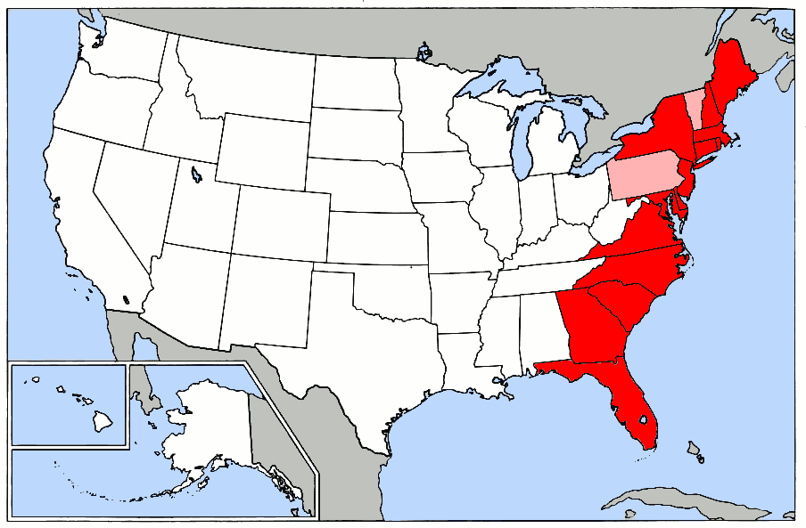 Image Map Of USA Highlighting Eastern Seaboardpng Deathlands - Map of us eastern seaboard