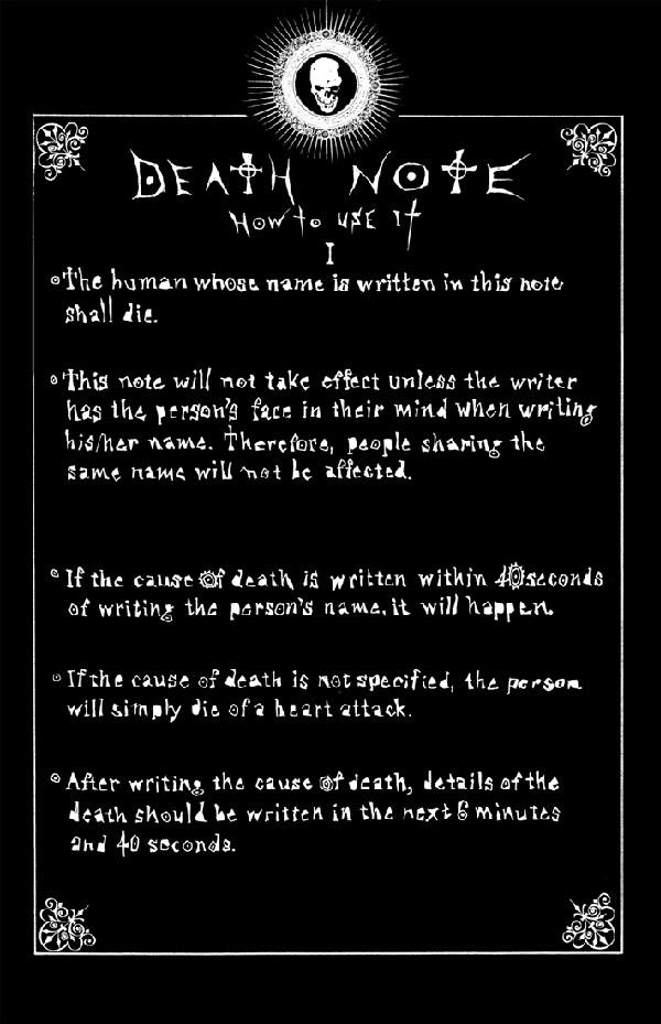 Rules Of The Death Note  Death Note Wiki  Fandom Powered By Wikia