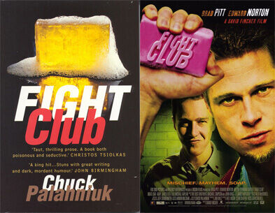 Fight Club book cover and movie poster