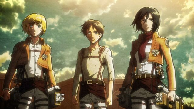 Image eren mikasa armin character attack on titan wallpaper hd fileeren mikasa armin character attack on titan voltagebd Image collections