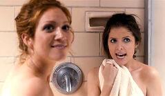 Chloe and beca shower scene