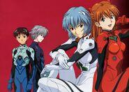 Kaworu, Rei, Asuka and Shinji