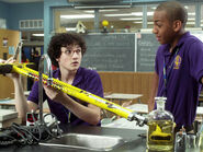Wesley & Dave In Their Degrassi Uniforms In Degrassi's Science Room With Wesley Holding His Pogo-Stick
