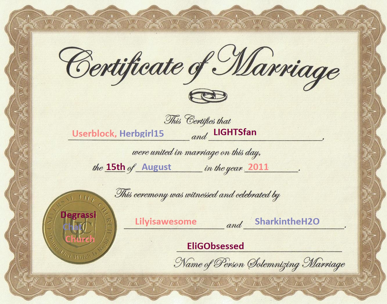 User Blogherbgirl15lindseycatand Herbys Wedding Certificate