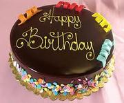 Birthday cake of chocolate