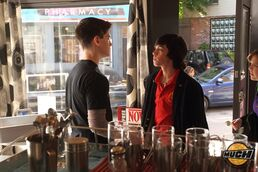 Eli & Clare In Their Degrassi uniforms At The Dot& Eli Looking Super Pissed At Fitz With Clare Close Behind Eli