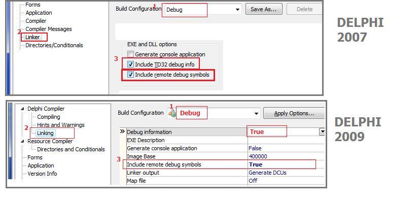 Delphi project options remote debug2
