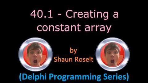 Delphi Programming Series 40.1 - Creating a constant array