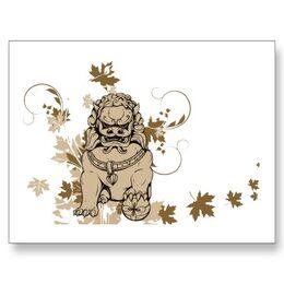 Shishi lion vintage japanese lion foo dog postcard-p239781206631975226envli 400