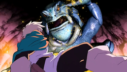 Lief mid-battle with Gellick (anime)