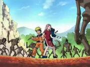 Naruto Sasuke Sakura & Konohamaru vs Akagahara-Puppen