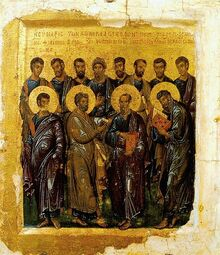 414px-Synaxis of the Twelve Apostles by Constantinople master (early 14th c., Pushkin museum)