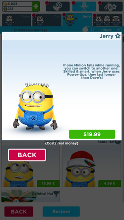 Jerry in minion rush menu v.4