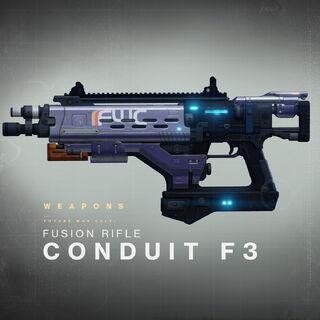 銃身の一部が青くネオンのように輝くコンジット F3