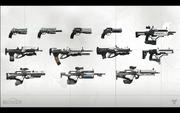 『Destiny』に登場する武器のコンセプトアートの見本。GDC 2013 Bungie パネルで展示された。