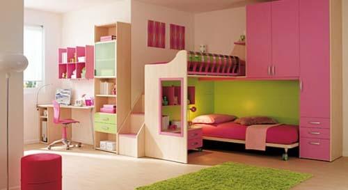 Image - Brightnees-Combination-Between-Green-Pink-Kids-Bedroom ...