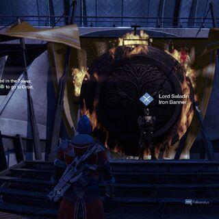 タワー内部にいるサラディン卿。<a href=