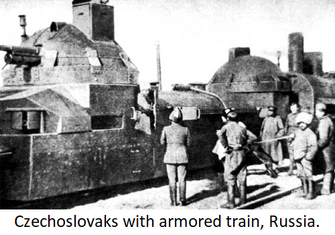 Czechoslovaks with armored train in Russia