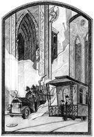 Baudelaires indo em direção à Mansão recém-incendiada