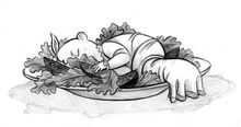 Sunny dormindo na salada