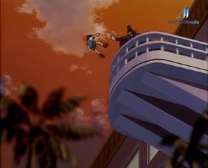 El baron empuja a Conan en anime