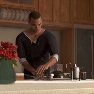 Markus bereit das Frühstück vor