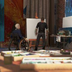 Carl und Markus malen im Atelier
