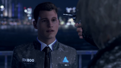 Hank pulls a gun on Connor, the bridge
