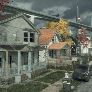 Die Harrison Street mit Todds Haus links